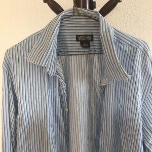 Michael kor xl blue black striped dress shirt